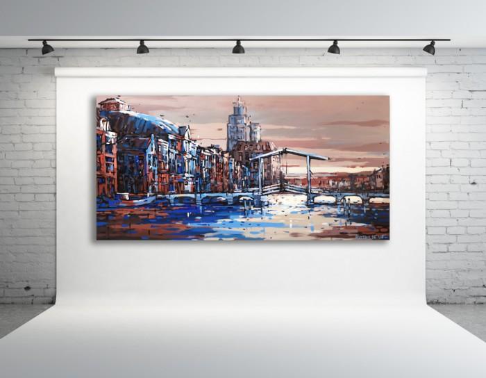 Schilderij Amstel, Magere Brug en Carré