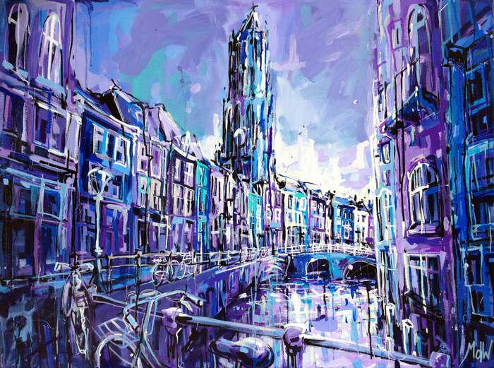 Schilderij Utrecht – Oudegracht