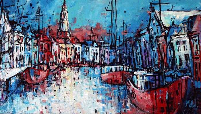 Schilderij lage A in Groningen