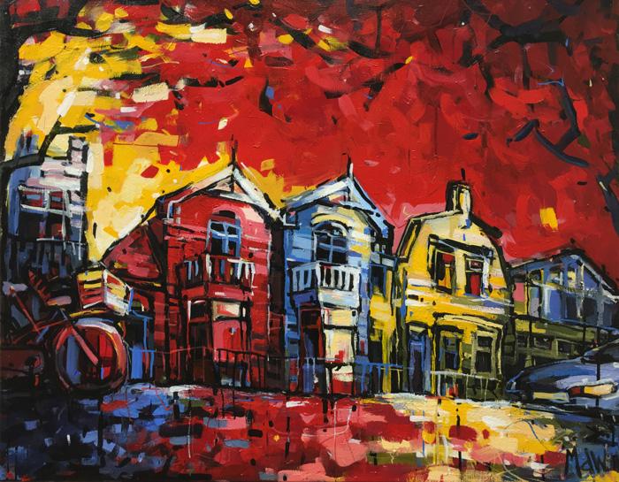 Schilderij woonhuis Zaandam