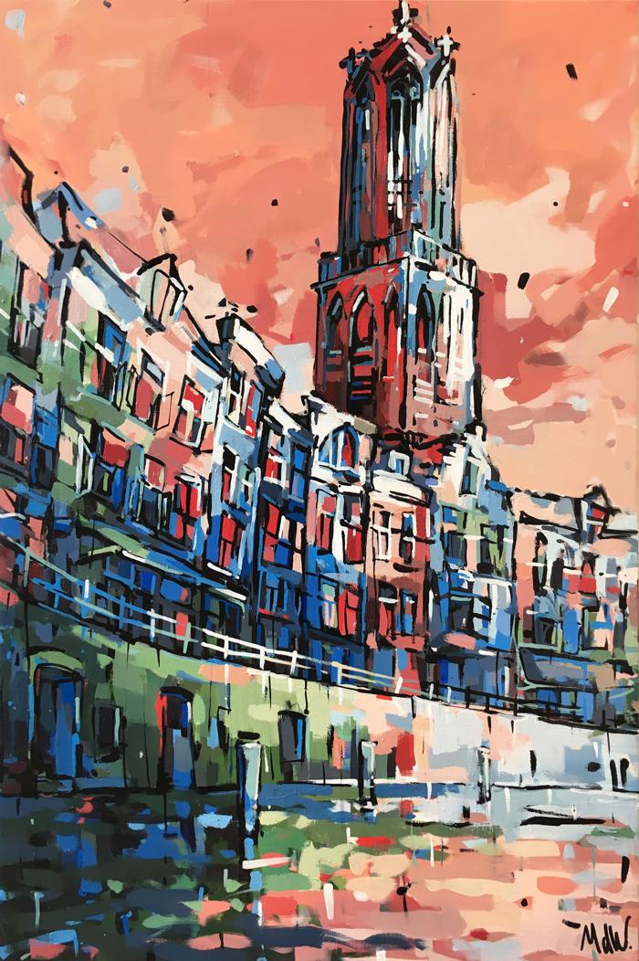 Schilderij Oude Gracht en Dom Utrecht